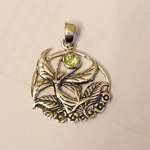 Sterling Silver Fairy Pendant with Peridot